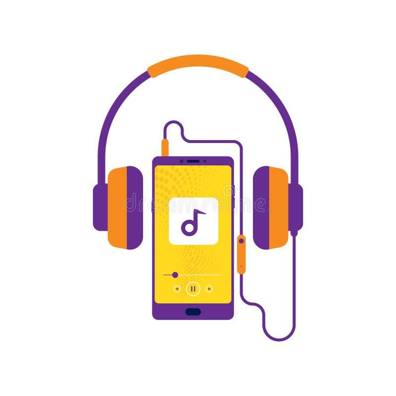 Hoofdtelefoons, Mobiel met hoofdtelefoon, die aan muziek, Vrolijke liederenplaylist, Muziekspeler, retro Oortelefoon luisteren, royalty-vrije illustratie