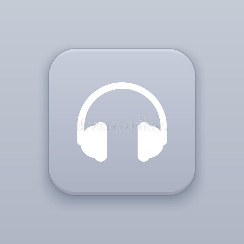Hoofdtelefoons, Oortelefoon, grijze vectorknoop met wit pictogram stock illustratie