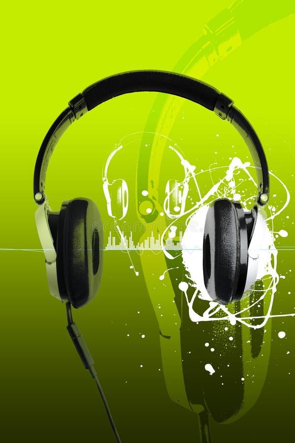 Hoofdtelefoons op groen vector illustratie