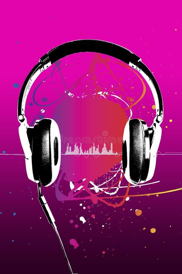 Hoofdtelefoons op roze royalty-vrije illustratie