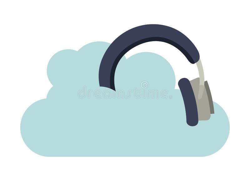 Hoofdtelefoonsmuziek met wolk geïsoleerd pictogramontwerp stock illustratie
