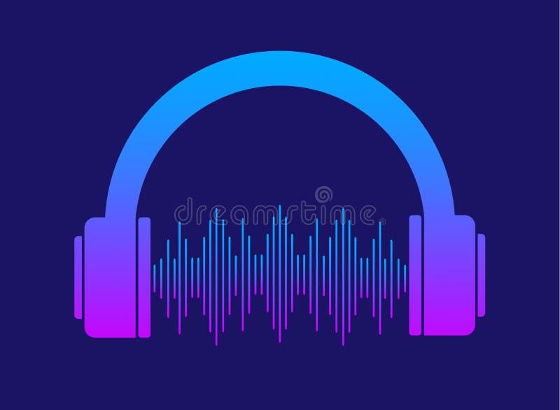 Hoofdtelefoonspictogram Hoofdtelefoons met equaliser Hoofdtelefoons met geluid royalty-vrije illustratie