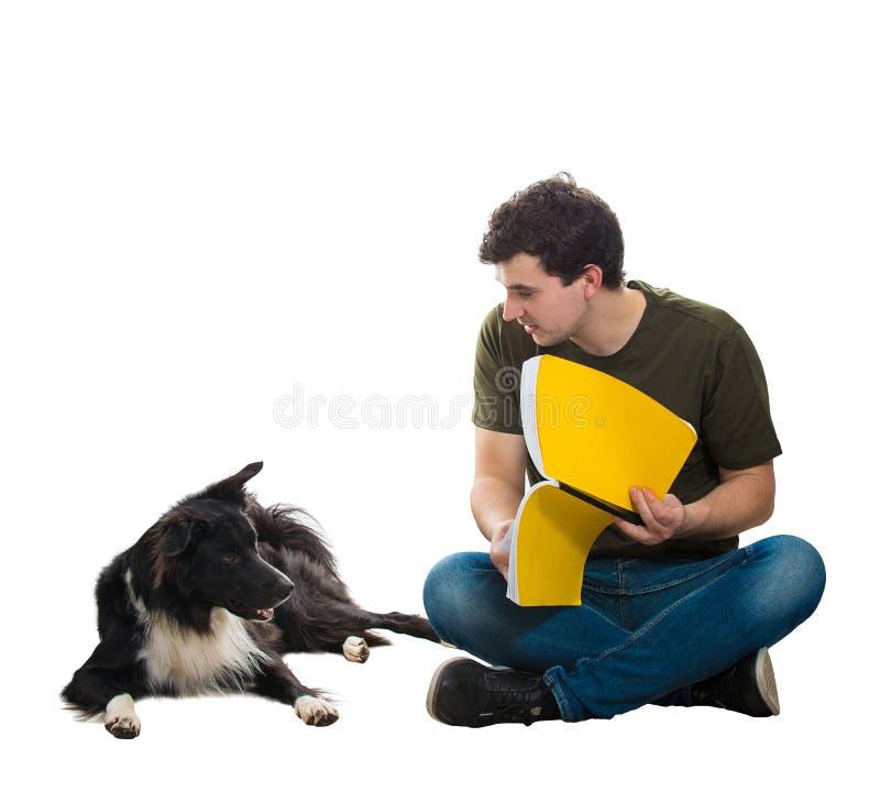 Hoofdtrein zijn te lezen hond stock afbeeldingen
