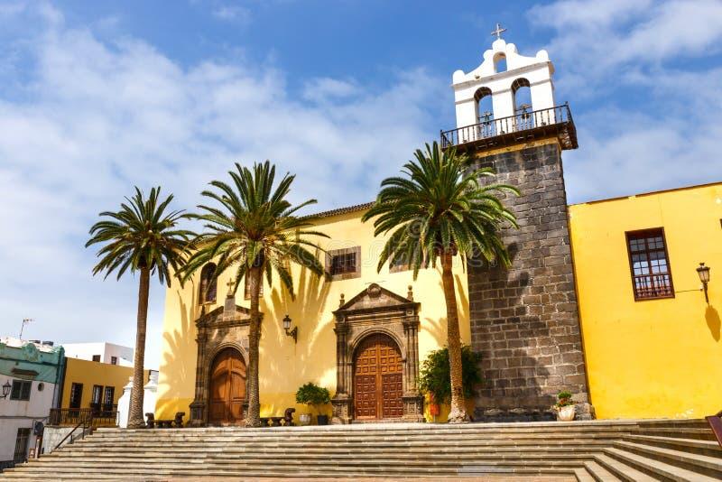 Hoofdvierkant in Garachico, Tenerife, Spanje stock afbeeldingen