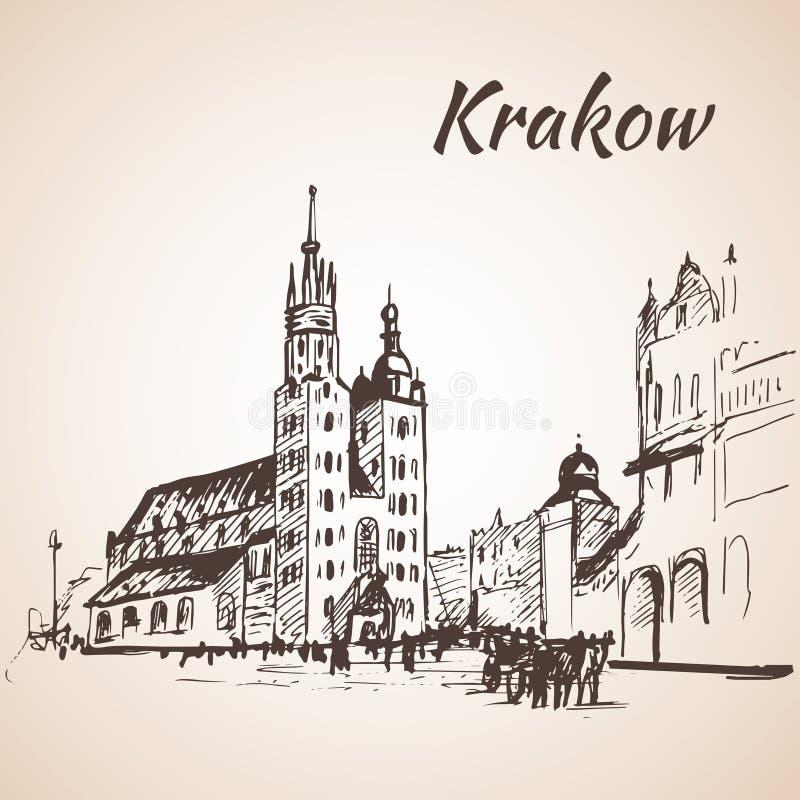 Hoofdvierkant, Krakau, Polen schets stock illustratie