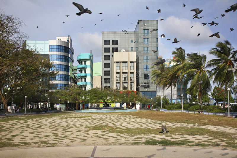 Hoofdvierkant in Mannetje Republiek van de Maldiven stock fotografie