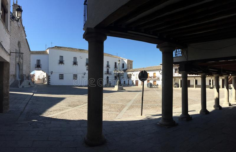 Hoofdvierkant van Puebla-DE-Montalban stock afbeeldingen
