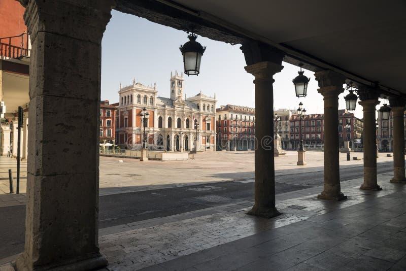 Hoofdvierkant van Valladolid, Spanje Kapitaal van Autonome Comm stock foto