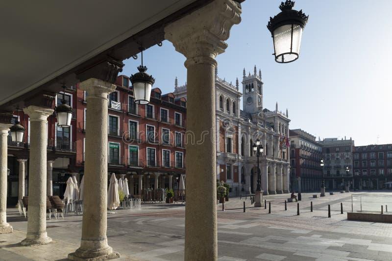 Hoofdvierkant van Valladolid, Spanje Kapitaal van Autonome Comm stock foto's