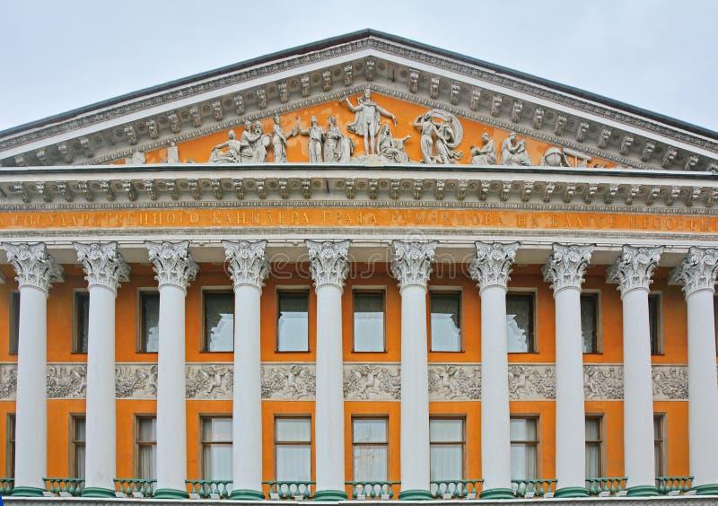 Hoofdvoorgevel van Rumyantsev& x27; s herenhuis in Heilige Petersburg, Rusland stock afbeelding