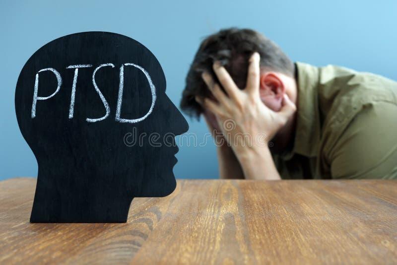 Hoofdvorm met Post traumatische de spanningswanorde van PTSD stock afbeeldingen