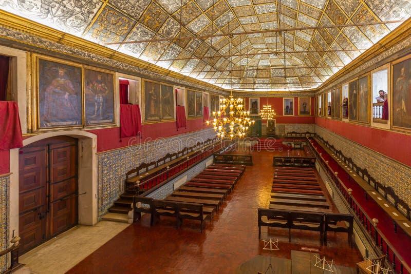 Hoofdzaal van Universiteit van Coimbra, Portugal stock afbeeldingen