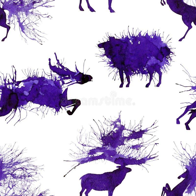 Hoofed dieren Herten, wilde stier, schapen en paard Natuurlijke cliparts royalty-vrije illustratie