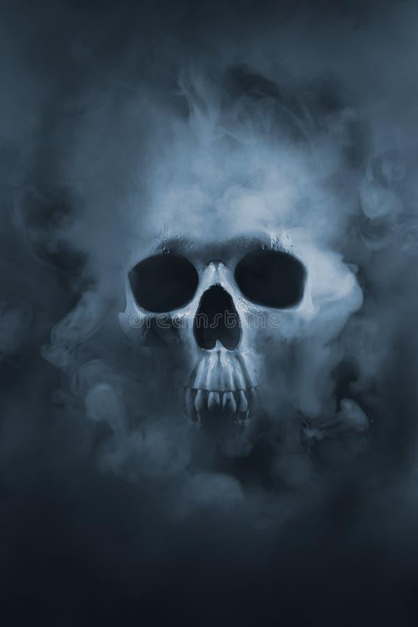 Hoog contrastbeeld van een schedel in een rookwolk royalty-vrije stock foto
