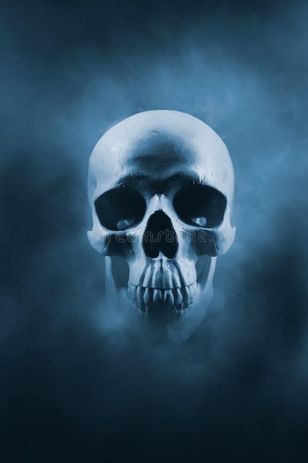 Hoog contrastbeeld van een schedel in een rookwolk royalty-vrije stock foto's