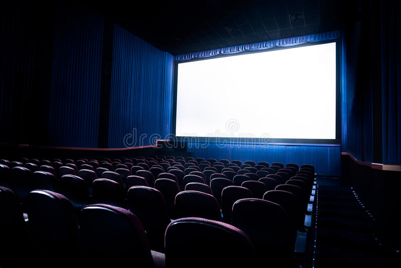 Hoog contrastbeeld van het bioscoopscherm stock foto