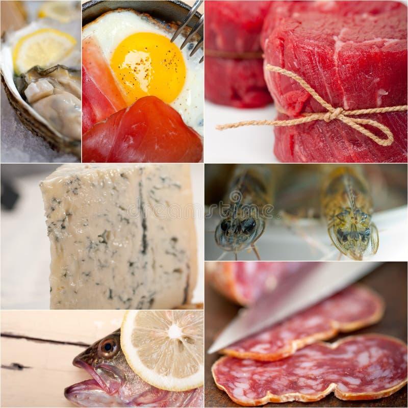 Hoog - de eiwitcollage van de voedselinzameling stock fotografie