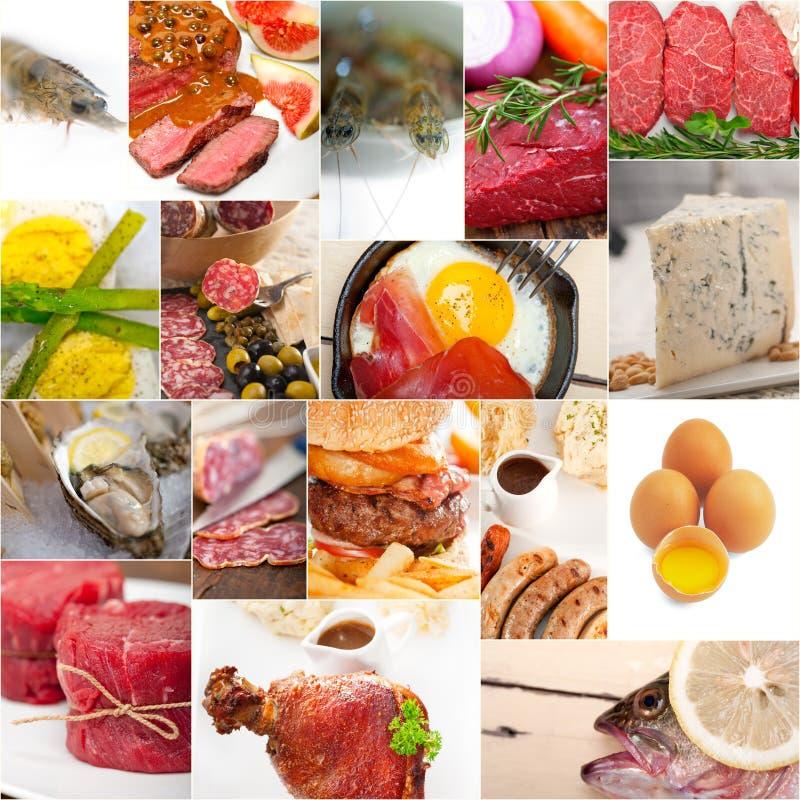Hoog - de eiwitcollage van de voedselinzameling stock afbeelding