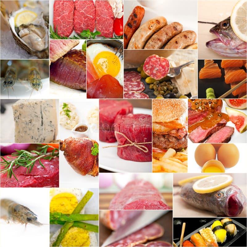 Hoog - de eiwitcollage van de voedselinzameling stock foto's