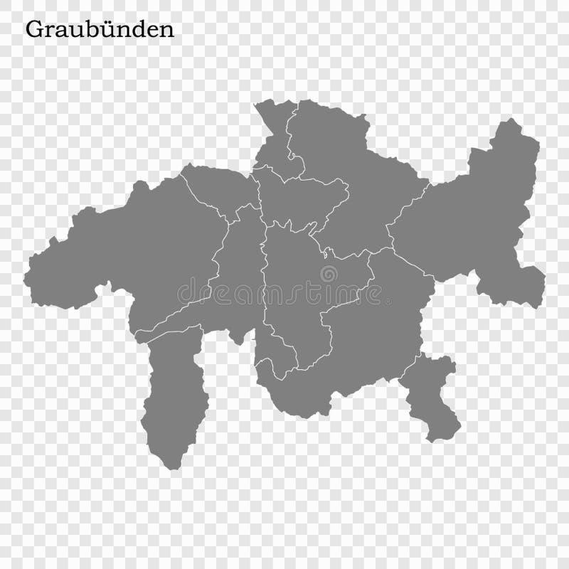 Hoog - de kwaliteitskaart is een kanton van Zwitserland royalty-vrije illustratie