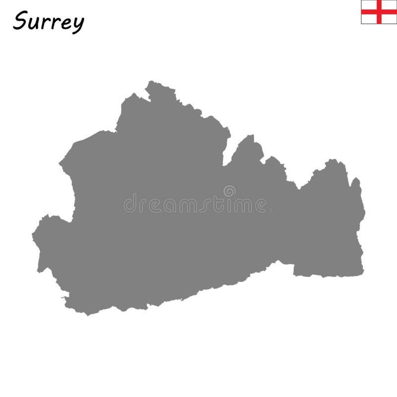 Hoog - de kwaliteitskaart is een plechtige provincie van Engeland vector illustratie