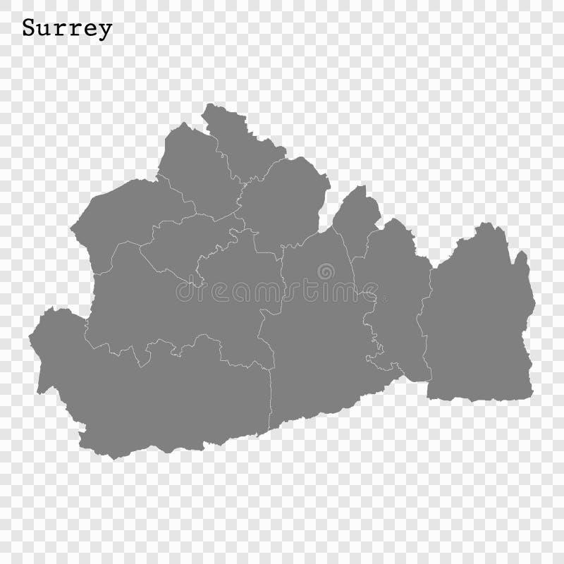 Hoog - de kwaliteitskaart is een provincie van Engeland vector illustratie