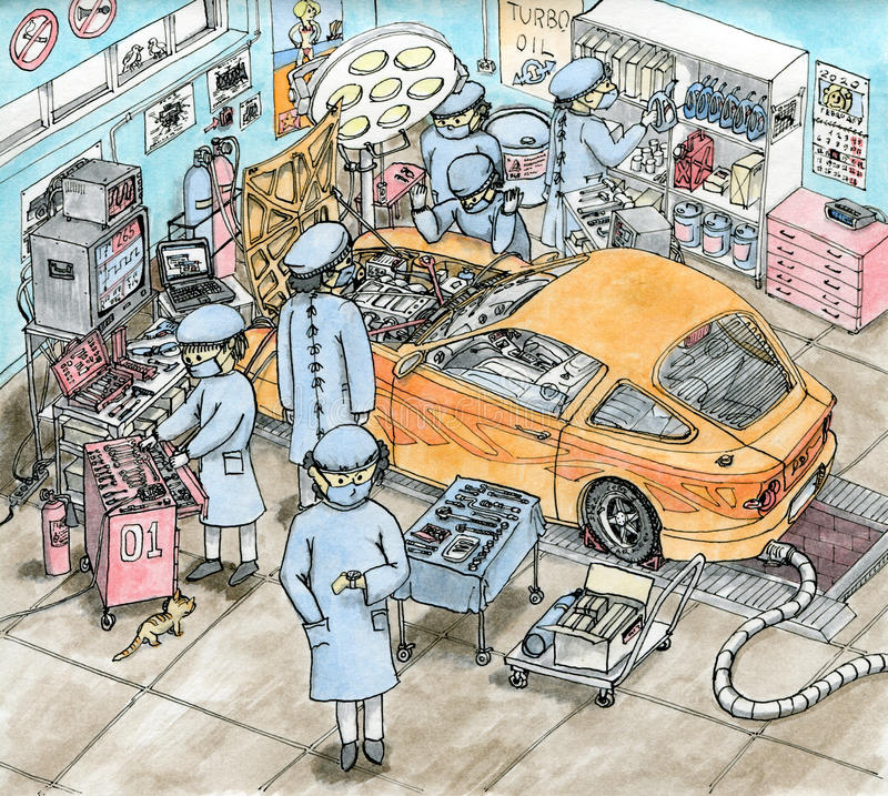 Hoog gedetailleerde chirurgieruimte voor auto stock foto