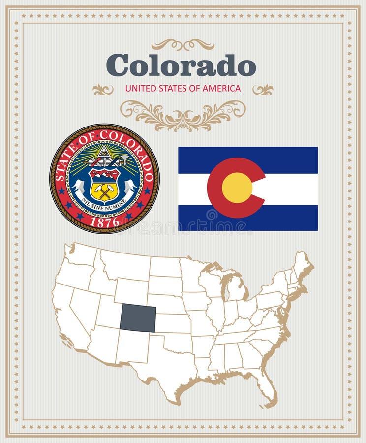 Hoog gedetailleerde die vector met vlag, wapenschild Colorado wordt geplaatst Amerikaanse affiche De kaart van de groet stock illustratie