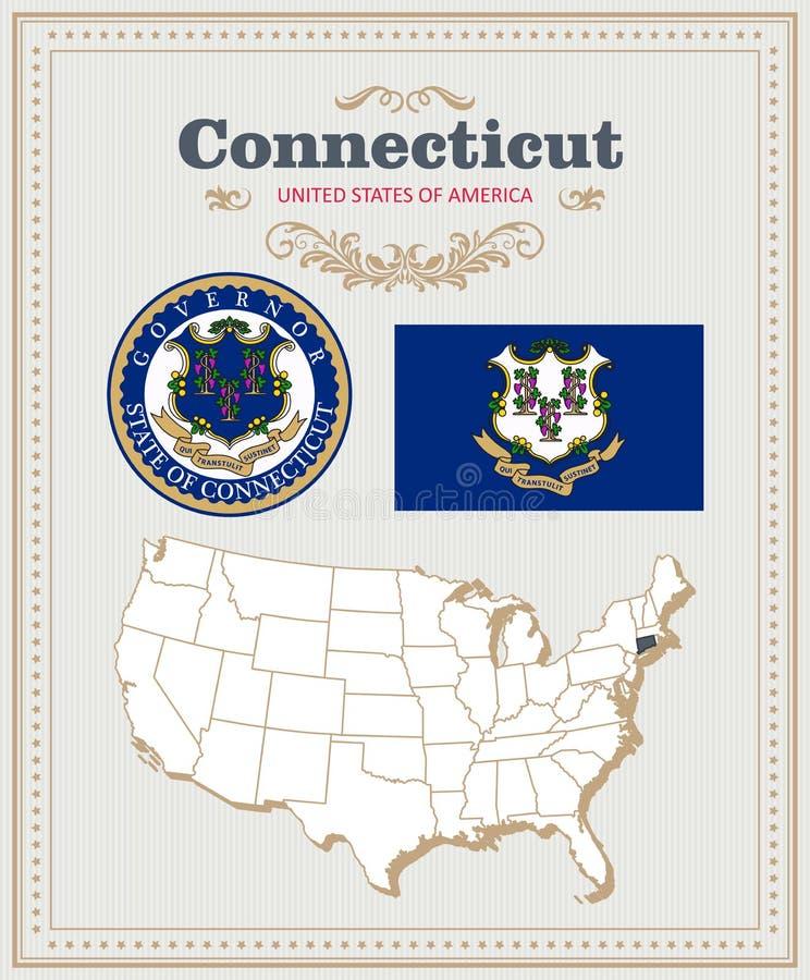 Hoog gedetailleerde die vector met vlag, wapenschild Connecticut wordt geplaatst Amerikaanse affiche De kaart van de groet vector illustratie