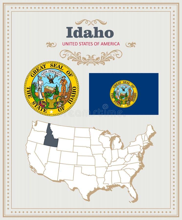 Hoog gedetailleerde die vector met vlag, wapenschild Idaho wordt geplaatst Amerikaanse affiche De kaart van de groet royalty-vrije illustratie