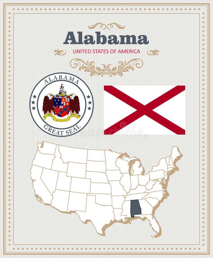 Hoog gedetailleerde die vector met vlag, wapenschild, kaart wordt geplaatst van Alabama Amerikaanse affiche De kaart van de groet stock illustratie