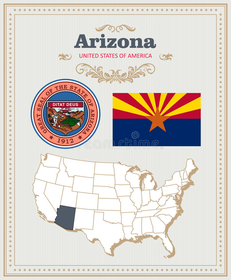 Hoog gedetailleerde die vector met vlag, wapenschild, kaart wordt geplaatst van Arizona Amerikaanse affiche De kaart van de groet royalty-vrije illustratie