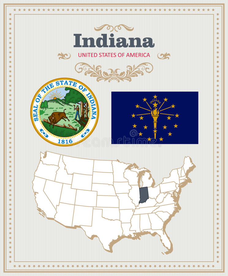 Hoog gedetailleerde die vector met vlag, wapenschild, kaart wordt geplaatst van Indiana Amerikaanse affiche De kaart van de groet royalty-vrije illustratie