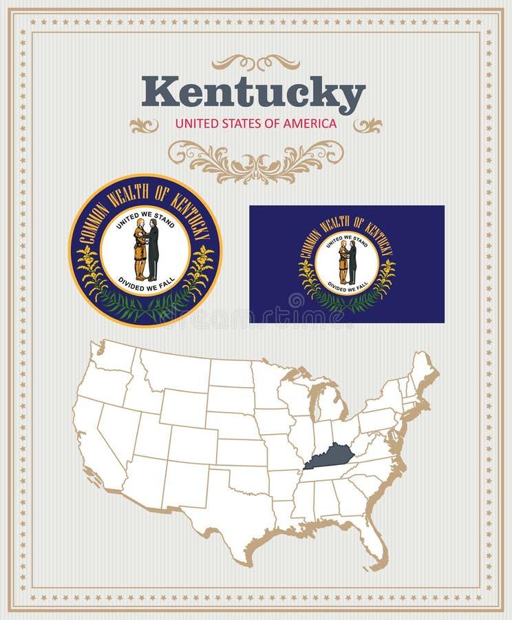 Hoog gedetailleerde die vector met vlag, wapenschild, kaart wordt geplaatst van Kentucky Amerikaanse affiche De kaart van de groe royalty-vrije illustratie