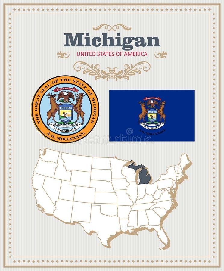 Hoog gedetailleerde die vector met vlag, wapenschild, kaart wordt geplaatst van Michigan Amerikaanse affiche De kaart van de groe vector illustratie