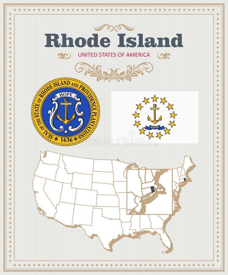 Hoog gedetailleerde die vector met vlag, wapenschild, kaart wordt geplaatst van Rhode Island Amerikaanse affiche De kaart van de  vector illustratie