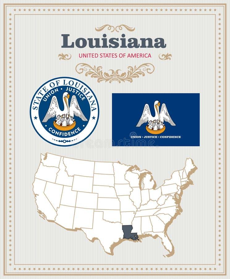 Hoog gedetailleerde die vector met vlag, wapenschild Louisiane wordt geplaatst Amerikaanse affiche De kaart van de groet stock illustratie