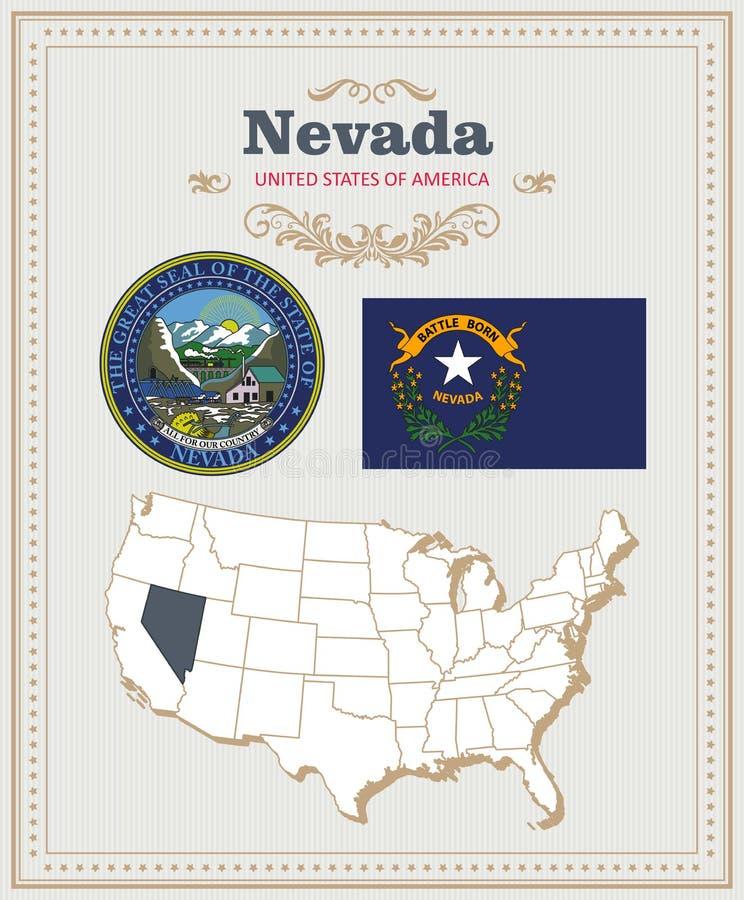 Hoog gedetailleerde die vector met vlag, wapenschild Nevada wordt geplaatst Amerikaanse affiche De kaart van de groet royalty-vrije illustratie