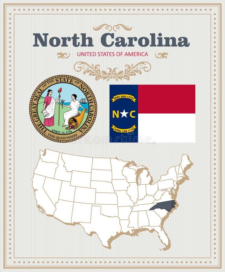 Hoog gedetailleerde die vector met vlag, wapenschild Noord-Carolina wordt geplaatst Amerikaanse affiche De kaart van de groet stock illustratie