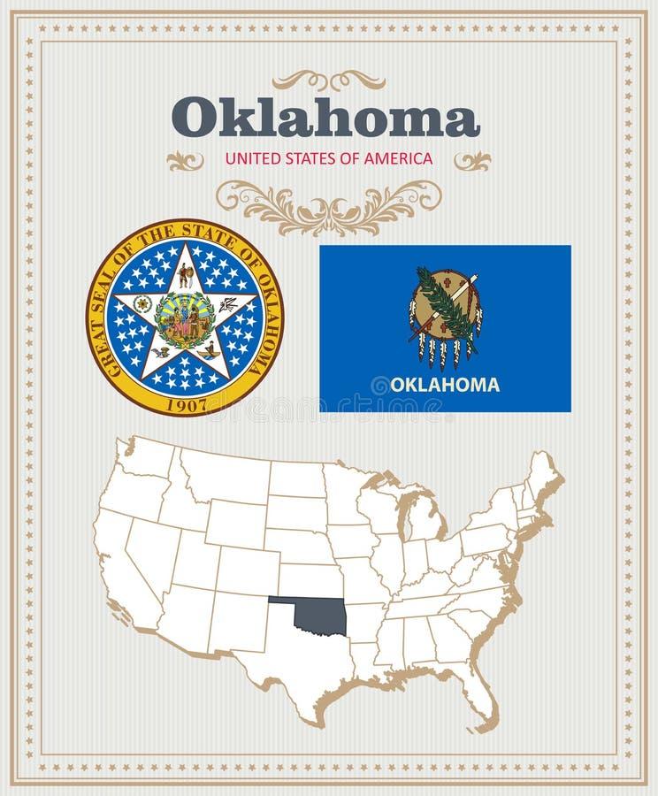 Hoog gedetailleerde die vector met vlag, wapenschild Oklahoma wordt geplaatst Amerikaanse affiche De kaart van de groet royalty-vrije illustratie