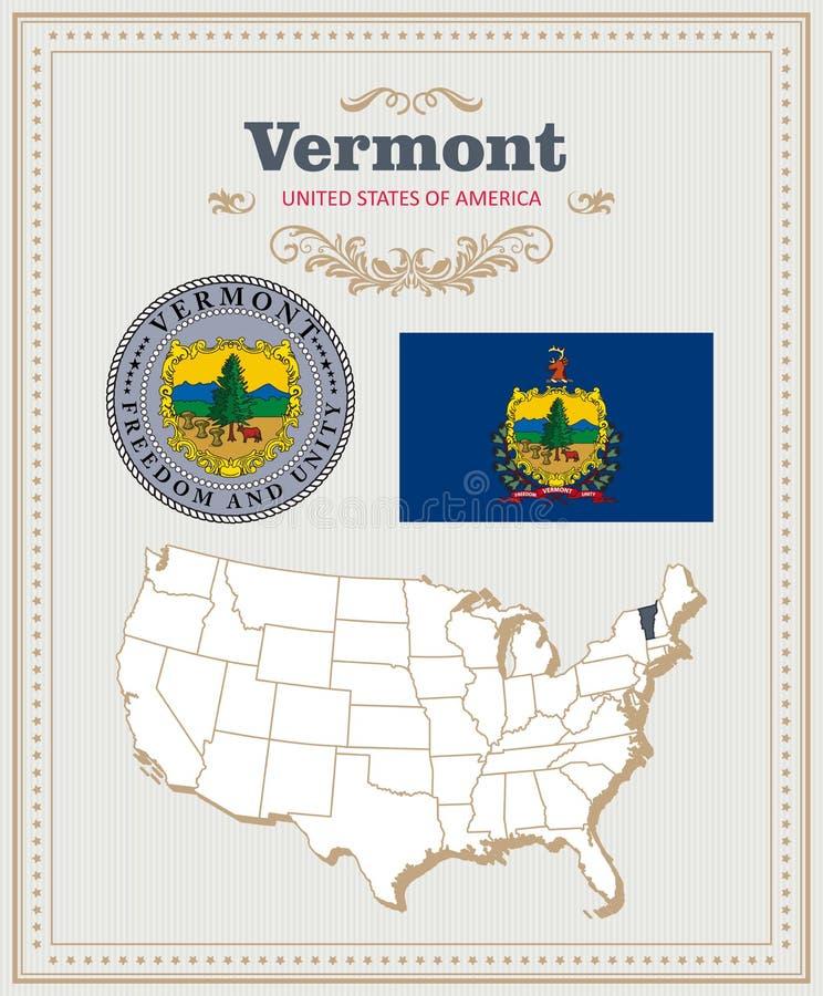 Hoog gedetailleerde die vector met vlag, wapenschild Vermont wordt geplaatst Amerikaanse affiche De kaart van de groet royalty-vrije illustratie