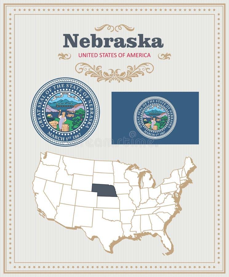 Hoog gedetailleerde die vector met vlag, wapenschild wordt geplaatst NebraskaAmericanaffiche De kaart van de groet royalty-vrije illustratie