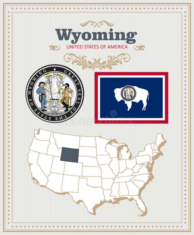 Hoog gedetailleerde die vector met vlag, wapenschild Wyoming wordt geplaatst Amerikaanse affiche De kaart van de groet royalty-vrije illustratie