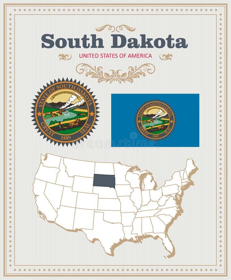 Hoog gedetailleerde die vector met vlag, wapenschild Zuid-Dakota wordt geplaatst Amerikaanse affiche De kaart van de groet vector illustratie