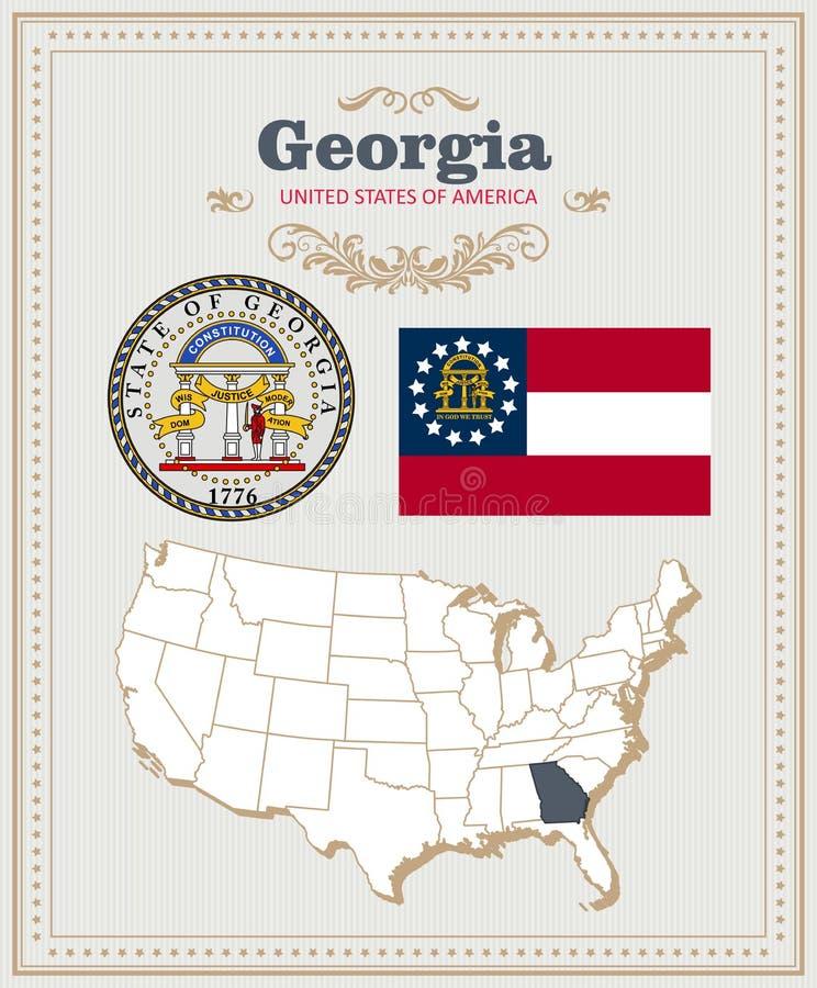 Hoog gedetailleerde vector die met vlag, wapenschild Georgië wordt geplaatst Amerikaanse affiche De kaart van de groet vector illustratie