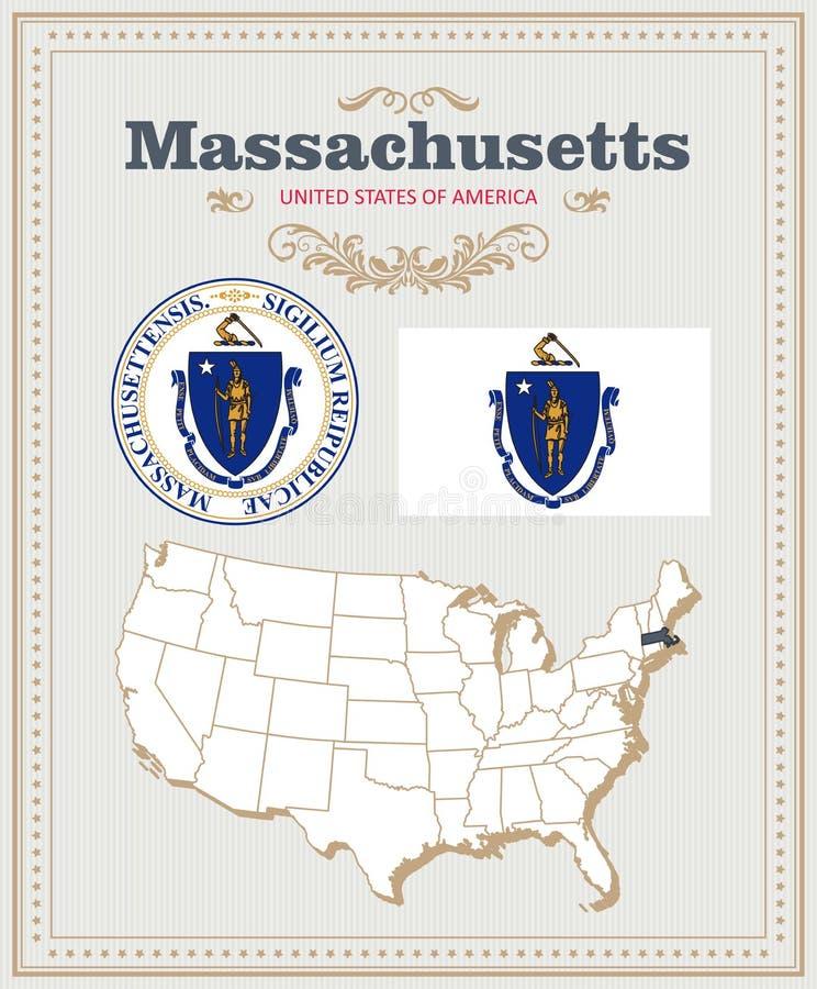 Hoog gedetailleerde vector die met vlag, wapenschild, kaart wordt geplaatst van Massachusetts Amerikaanse affiche De kaart van de stock illustratie