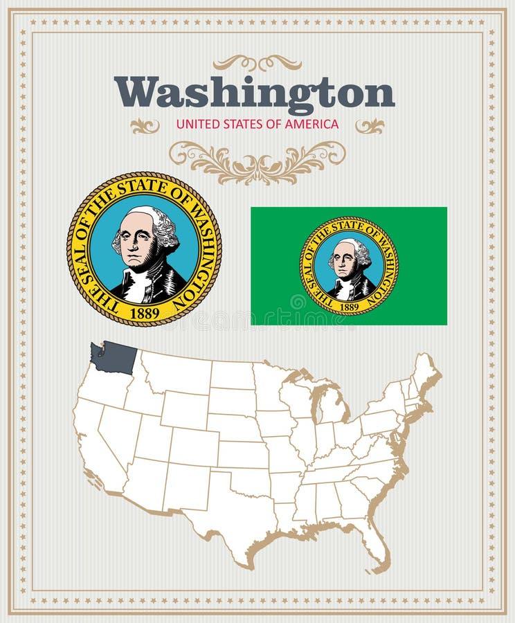 Hoog gedetailleerde vector die met vlag, wapenschild Washington wordt geplaatst Amerikaanse affiche De kaart van de groet vector illustratie