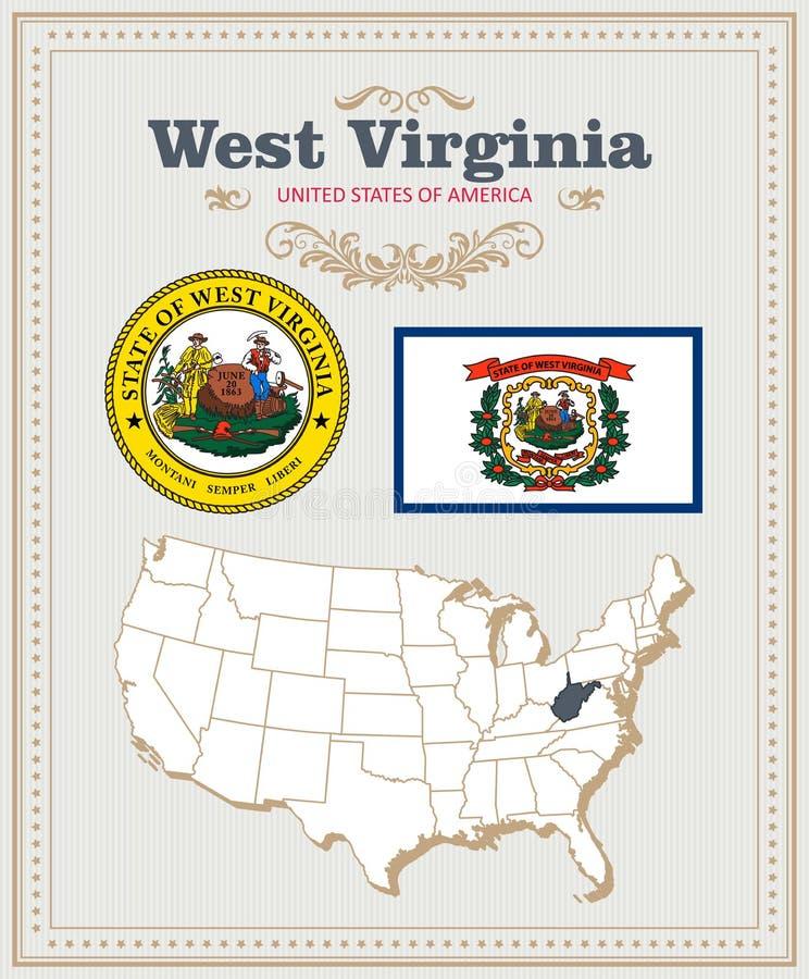 Hoog gedetailleerde vector die met vlag, wapenschild West-Virginia wordt geplaatst Amerikaanse affiche De kaart van de groet stock illustratie