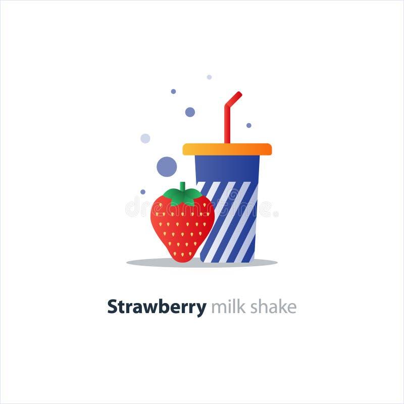 Hoog glas van milkshake met aardbei, verfrissende drank vector illustratie