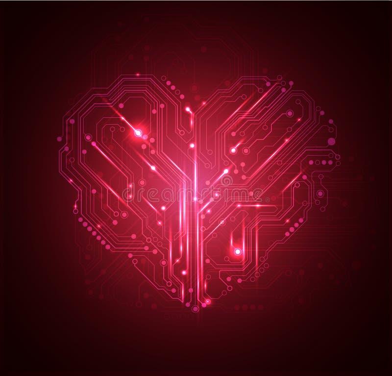 Hoog hart - technologieachtergrond   vector illustratie